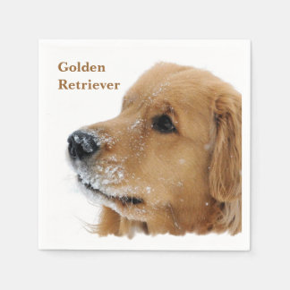 Snow Dog Golden Retriever Paper Napkin