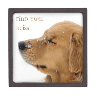 Snow Dog Golden Retriever Premium Keepsake Boxes