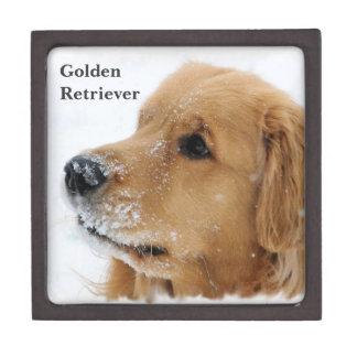 Snow Dog Golden Retriever Premium Jewelry Box