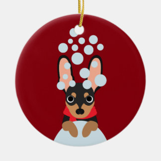 Snow Dog Min Pin Ceramic Ornament
