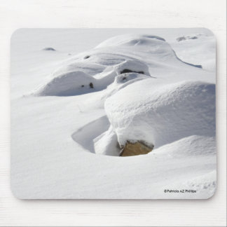 Snow Drifts Over Rocks Mouse Pad