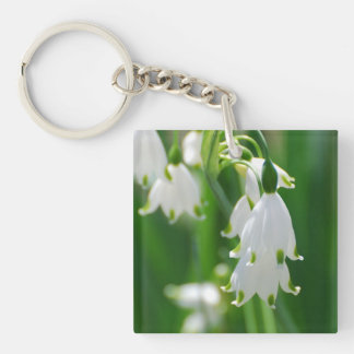Snow Drop Lily Square Acrylic Keychain