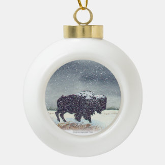 Snow dusted Buffalo Art Ceramic Ball Christmas Ornament