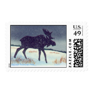 Snow Dusted Bull Moose Postage