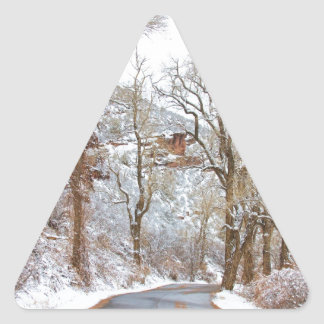 Snow Dusted Colorado Scenic Drive Triangle Sticker