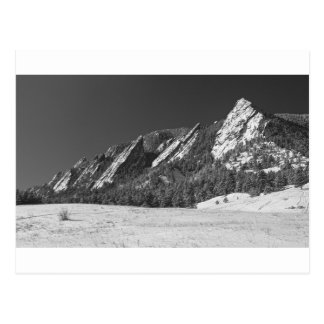Snow Dusted Flatirons Boulder CO Panorama BW Postcard