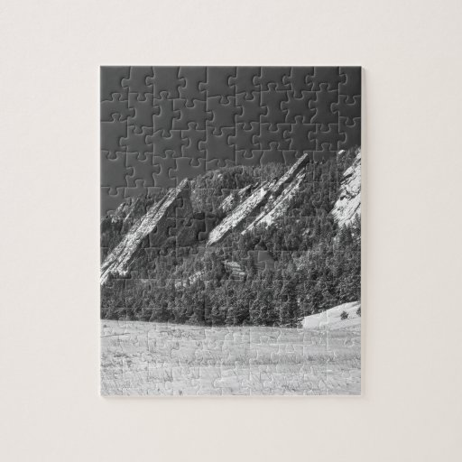 Snow Dusted Flatirons Boulder CO Panorama BW Jigsaw Puzzle