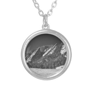 Snow Dusted Flatirons Boulder CO Panorama BW Silver Plated Necklace