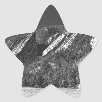 Snow Dusted Flatirons Boulder CO Panorama BW Star Sticker