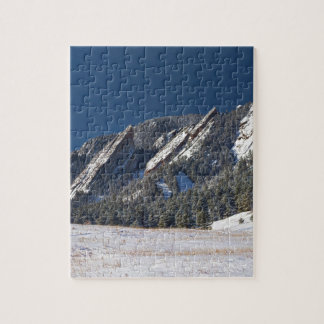 Snow Dusted Flatirons Boulder Colorado Panorama Jigsaw Puzzles
