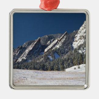Snow Dusted Flatirons Boulder Colorado Panorama Metal Ornament
