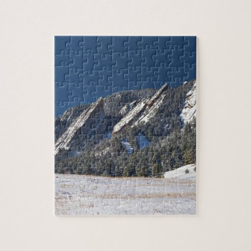 Snow Dusted Flatirons Boulder Colorado Panorama Jigsaw Puzzle