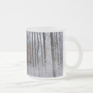 Snow Dusted Forest Winter Landscape Photography 10 Oz Frosted Glass Coffee Mug