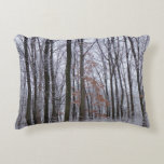 Snow Dusted Forest Winter Landscape Photography Decorative Pillow