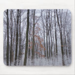 Snow Dusted Forest Winter Landscape Photography Mouse Pad