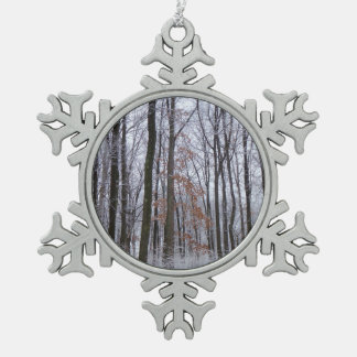 Snow Dusted Forest Winter Landscape Photography Snowflake Pewter Christmas Ornament