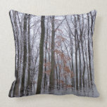 Snow Dusted Forest Winter Landscape Photography Throw Pillow