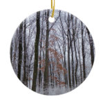 Snow Dusted Forest Winter Photography Christmas Tree Ornament