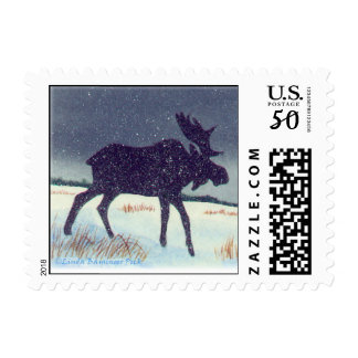 Snow Dusted Moose Art Postage