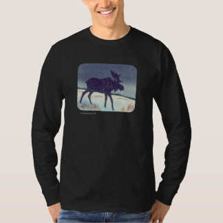 Snow Dusted Moose Rounded Corners T-Shirt