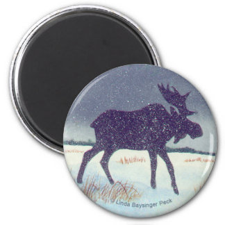 Snow Dusted Moose Silhouette 2 Inch Round Magnet