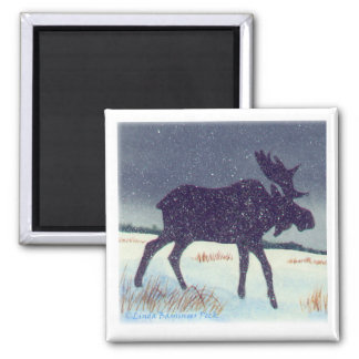 Snow Dusted Moose Square 2 Inch Square Magnet