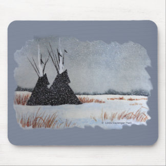 Snow Dusted Tipis Border Mouse Pad
