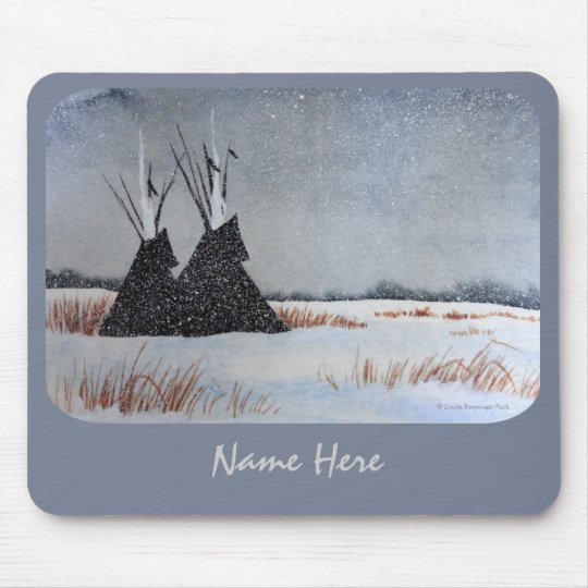 Snow Dusted Tipis Rounded Corners Mouse Pad