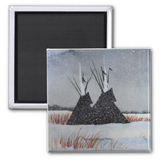 Snow Dusted Tipis Square Magnet