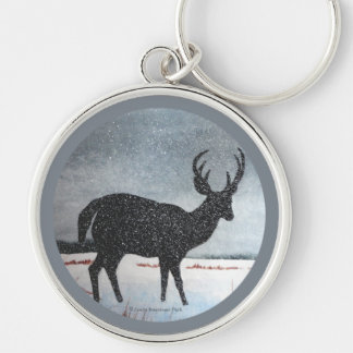 Snow Dusted White Tailed Buck Deer Silver-Colored Round Keychain