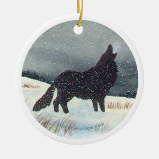 Snow Dusted Wolf Round Ceramic Ornament