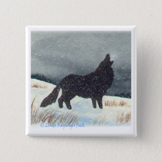 Snow Dusted Wolf Square Pinback Button
