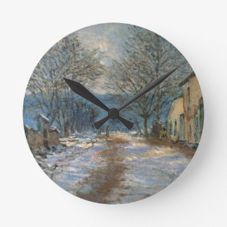 Snow Effect at Limetz by Claude Monet Round Clock