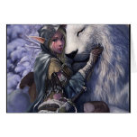 Snow+Elf+Girl+with+Lion Greeting Card