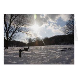Snow evening fountain card