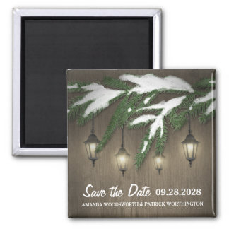 Snow Evergreen Lantern Wedding Save the Date Magnet