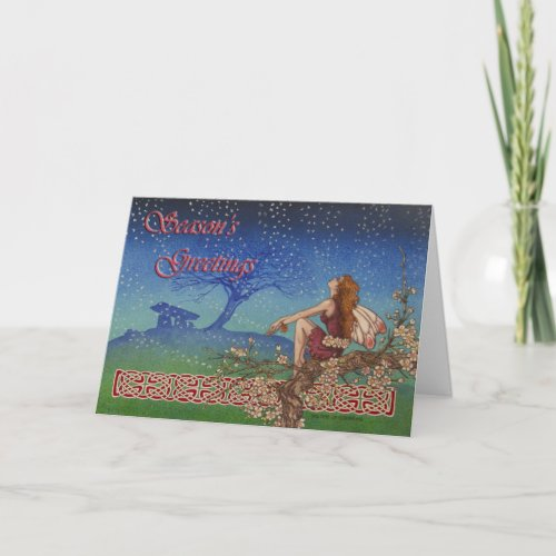 Snow Fairy Celtic Irish Christmas Card
