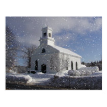 Snow Fall at Church Postcard