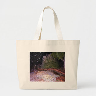 snow falling large tote bag