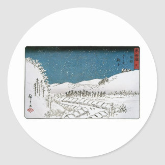 Snow Falling on a Town, Japan circa 1851-52 Classic Round Sticker