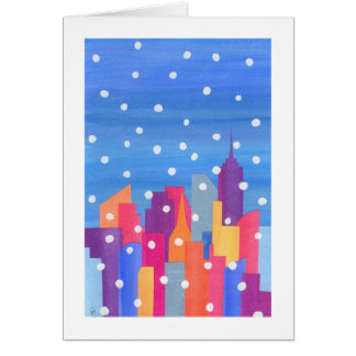 Snow Falling over NYC Card