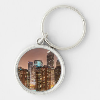 Snow falls over skyline at evening in Chicago Silver-Colored Round Keychain
