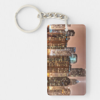 Snow falls over skyline at evening in Chicago Double-Sided Rectangular Acrylic Keychain