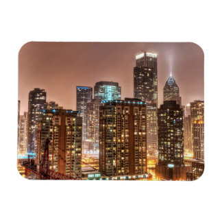 Snow falls over skyline at evening in Chicago Rectangular Photo Magnet