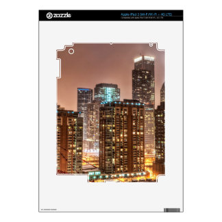 Snow falls over skyline at evening in Chicago iPad 3 Skin