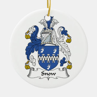 Snow Family Crest Double-Sided Ceramic Round Christmas Ornament