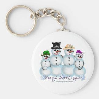 Snow Family Greetings Keychain