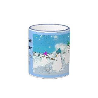 snow family mug