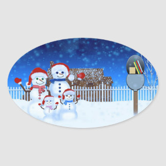 Snow Family Oval Sticker