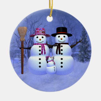 Snow Family with 1 Girl Ornament